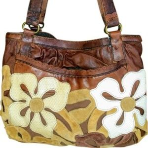 Lucky EUC leather tote with flowers